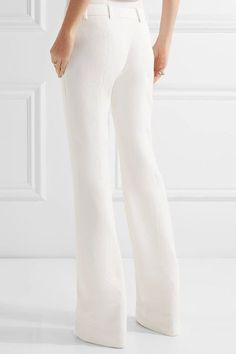 Alexander McQueen - Grain De Poudre Wool Flared Pants - White - IT38