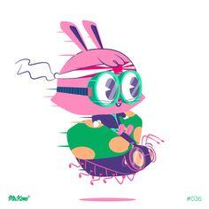#Rabbit #Fly #36/#365Rounds #MrKone #Illustration #CharacterDesign #AdobeIlustrator #Wacom