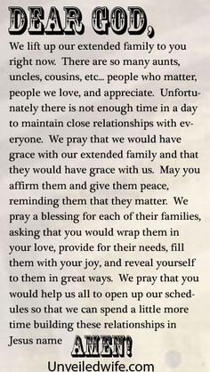 Prayer Of The Day – A Prayer For Extended Family by @Unveiled Wife
