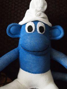 by The Funky Monkey Shoppe #SmurfSockMonkey #KellysSockMonkeyMania