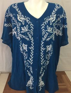 Catherines Size 1X Blue Watercolor Floral Print Polyester Sleep Tee