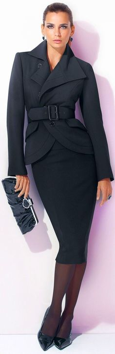 Ladies you Can command the Same respect in a skirt as you would in trousers - Do not accept less!  *clutch not necessary*