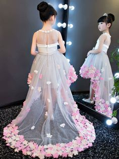 Beautiful Tea-length Tulle Dress With Bow Sash Dresses Kids Girl, Girls Party Dress, Wedding Party Dresses, Baby Dress, Kids Outfits, Bridesmaid Dresses, Kids Gown, Kids Frocks, Backless Wedding