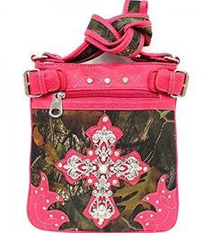 Pink Camouflage Cross Rhinestone Messenger Handbag - Handbags, Bling & More!