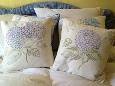Japanese Hydrangea Floral Stencil used to stencil pillows by Patricia Presto. A fast & fun weekend DIY stencil project!