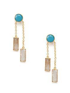 Kanupriya White Druzy & Turquoise Dangle Earrings