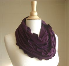 Infinity Scarf Plum Purple jersey circle cowl - ready to ship on Etsy, $18.00