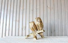 Large Brass Owls // Solid Brass by genrestoration on Etsy, $89.00