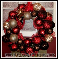 How to Make a Christmas Ball Wreath with a Coat Hanger