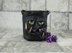 Dice Marble Bag Fairy Pouch With Face RPG LARP by Pippenwycks