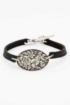 Bonnie Jonas | Bonnie Jonas Floral Oval Leather Bracelet | Nordstrom Rack