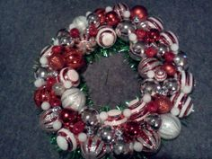 Red, White and Silver bauble wreath