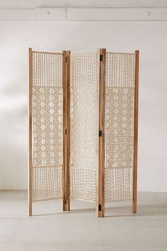 Magical Thinking Tabitha Macrame Foldable Screen - Urban Outfitters