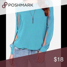 Casual slash neck chiffon blouse Casual slash neck chiffon blouse Long open sleeves No tags but fits small Tops Blouses