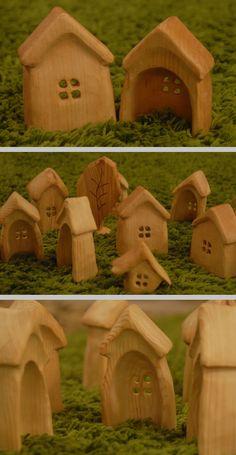 Handcarved by Alex & Yuri Ekimenko at artstolarka. Wooden Figurines, Wooden Dolls, Projects For Kids, Diy For Kids, Wooden Hut, Kids Blocks, Mini Houses, Natural Toys, Wooden Dollhouse