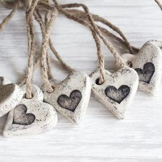 Set of six (6) rustic cottage chic heart ornaments. Use them as wedding or guest favors, napkin ties, tag attachments, tree décor, etc.. They