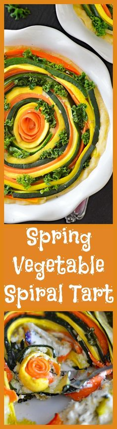 #ad Vegan Spring Vegetable Spiral Tart - a recipe by TheVegLife - BobsSpringBaking AD A light, flaky crust made with Bob's Red Mill All Purpose Flour is topped with a vegan cheese mixture, the sliced veggies and baked until golden.  A delicious and easy dish! @bobsredmill