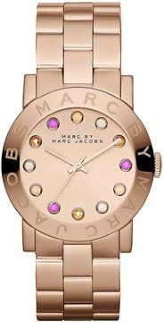 ShopStyle: Marc by Marc Jacobs Ladies Amy Dexter Rose Gold-Tone & Crystal Watch $200