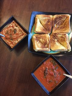 Grilled cheese/bacon with hearty tomato soup, Bonnie made, February 2017.