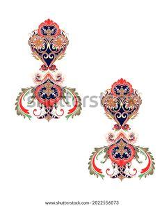 Digital Textile Design Motif Botanical Flower Stock Illustration 2022556073