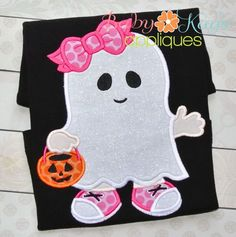 Little Ghost Girl Trick or Treat! Applique - This sweet little girl is ready for Halloween with her ghost costume and pumpkin bucket. This is a great applique design for Halloween season.