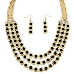 Candycombs Necklace and Earring Set - Midnight Black ($19) ❤ liked on Polyvore featuring jewelry, black jewelry, black rhinestone jewelry, chains jewelry, sparkle jewelry and stackers jewelry