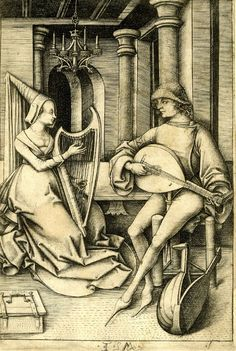 Israhel van Meckenem(1440 - 1503)---The Lute Player and the Harpist; the couple seated within an interior; first state. c. 1500 Engraving
