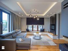 DOM W PRZYTULNYCH SZAROŚCIACH - Duży salon, styl nowoczesny - zdjęcie od DALMIKO DESIGN Pracownia Projektowa