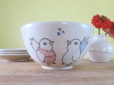 Handmade Ceramic Bowl  Wrens illustration Cereal by abbyberkson, $30.00