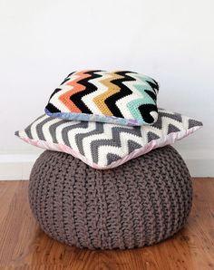 Chevron crochet cushion - free pattern and tutorial @  Mollie Makes, ooh, thanks so xox