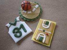 Basketball Fondant Cupcake Toppers by CottageCreekCakeArt on Etsy