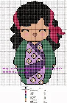 Esmeralda Kokeshi pattern by grilles point de croix et cie