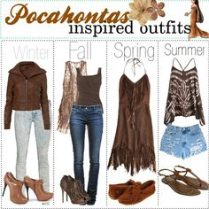 Winter, Fall, Spring, and Summer outfits inspired by Pocahontas.