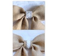 Burlap lack bow  Farmhouse, shabby chic, rustic, weddings, home decor. $6.99, via Etsy.