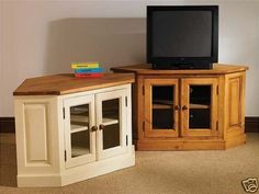 Painted Pine Furniture Corner Lcd Tv Unit Stand Cabinet