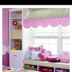 Girls room window seat and decor
