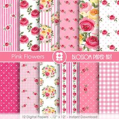 Pink Digital Papers Pink Scrapbook Paper Pack by blossompaperart