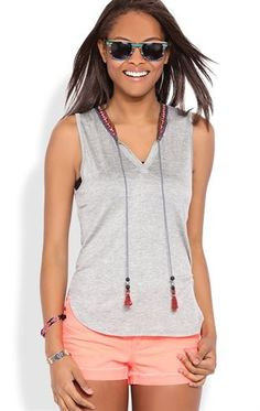 Deb Shops Sleeveless Tank Top with Neck Embroidery and Hanging Tassels $10.00