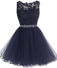 Cheap Splendid Prom Dresses Short Scoop Short Nave Blue Zipper-up Tulle Homecoming Dress With Beading Dama Dresses, Lace Homecoming Dresses, Beaded Prom Dress, Grad Dresses, Dresses For Teens, Tulle Dress, Cute Dresses, Evening Dresses, Bridesmaid Dresses