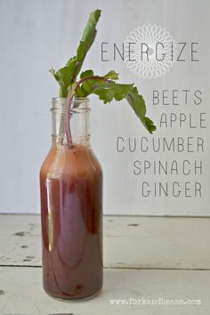 Energize with the power of beet, apple, cucumber, spinach, and ginger.
