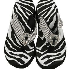 Zebra bling wedge flip flops