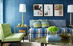 Introduce Tantalizing Texture With Grasscloth: Grasscloth wall coverings aren't just limited to sandy neutrals — some of my favorite picks come in electric blue, apple green, and pearly gray.  Source