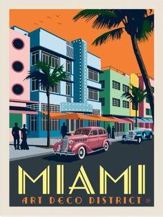 Vintage Travel Posters, Vintage Postcards, Party Vintage, Vintage Art, Miami Art Deco, Art Et Design, Art Deco Illustration, Design Illustrations, Travel Illustration
