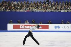 Yuzuru Hanyu of Japan performs during the Men Free Skating event in the ISU World Figure Skating Championship 2015 held at the Oriental Sports Center in Shanghai, China, Saturday, March 28, 2015. Hanyu finished in second place in the event. (AP Photo/Ng Han Guan)