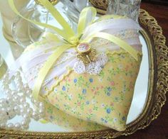 Valentine Sachet Heart Heart Sachet YELLOW with by CharlotteStyle, $12.50