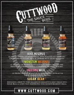 The Sauce Boss by Cuttwood Find These E-Liquids and more @ http://TeagardinsVapeShop.com or look for Teagardins Vape Shop in google play store today to get all the lates vape products right on your cell phone.