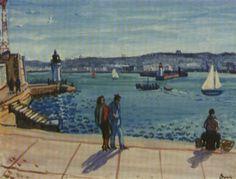 Peinture Algérie - Sur les quais du Port d'Alger by Charles Brouty