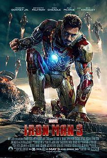 Tony, as Iron Man in his battle damaged suit sitting with water around him, while his house behind is destroyed. Stark's Iron Legion is flying, while the Marvel logo with the film's title, credits and release date are below.