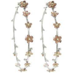 ylang Handmade Large Flower Hoops (£1,250) ❤ liked on Polyvore featuring jewelry, earrings, white gold hoop earrings, blossom jewelry, earrings jewelry, flower earrings and white gold jewellery