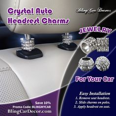 Crystal Car Seat Headrest Charms, Car Seat Decoration Accessory:  Auto interior car bling for cars, trucks, suv's, & jeeps. Universal fit & easy to install. Get em at BlingCarDecor.com.